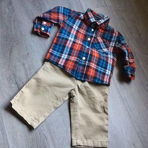 Button down and khaki pants